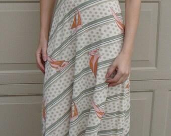 SAILBOAT PRINT MAXI dress vintage 1970's set xs