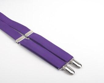 Royal Purple suspenders, purple suspenders, boys suspenders, boys braces, purple braces, men's suspenders, violet suspenders, men's braces