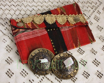 Small Assuit Zils Pouch- Cherry Red and Gold Lace Silk Ikat Assiut Finger Cymbals Bag