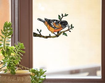 CLR:WND - Oriole Bird Perched on Branch - Stained Glass Style Vinyl Decal for Windows ©YYDC (Size Choices)