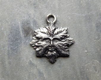 22X20mm Greenman - High Quality Lead Free Cast Fine Pewter Charm - Pendant, 1 PC (INDOP749)
