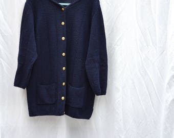 Lana dark blue vintage merino cardigan