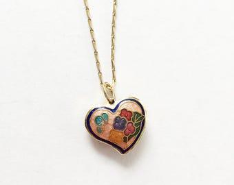 """Gorgeous Vintage Cloissonne Heart Pendant Necklace 19.5"""" Chain"""