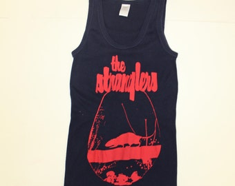 The Stranglers Rattus Norvegicus - Punk Rock Screenprint Vest-Navy Blue- Tank Top - Fitted-34