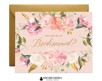 Will You Be My Bridesmaid Card, Bridesmaid Cards, Matron of Honor Ask Bridesmaid Maid of Honor Flower Girl Card Gold Shimmer Envelope WC0004