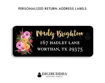 Modern Address Labels Black & White Return Address Labels Pink Flowers Return Address Label Personalized Address Sticker Custom Label   Mady