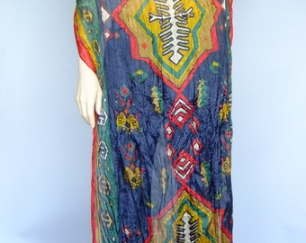 oversized large scarf, tribal print scarf, vintage scarf