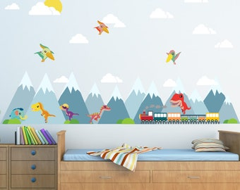 Dinosaur Decal, Mountain Scene Decal, Boys Train Decal, Kids Wall Decals Ecofriendly No Toxins No PVCs Decals, WD472