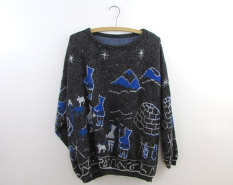 Northern Nights Novelty Sweater - Vintage 1970s Inuit Arctic Plus Size Jumper in xLarge 2XL by Tree-ko