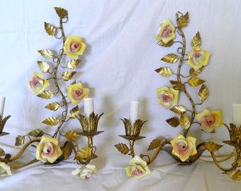 PAIR Vintage Sconces Antique Italian Sconces Rewired Electric Tole Sconces Gilt Florentine Finish & Porcelain Roses FAB!