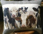 Cow cushion. Extra large herd of cows print pillow. Panel by Wendy Darker. FREE UK Postage.