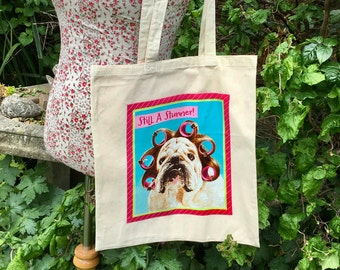 Shopping tote Bag in natural cotton, fully lined and reusable.