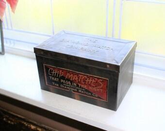 Antique Diamond Matches Tin Box Hinged Lid