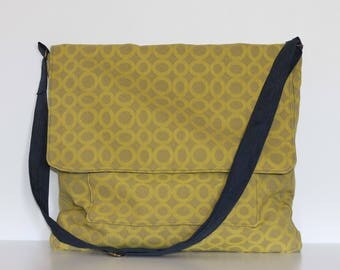 SALE - Messenger Bag by Bakeapple, Artist Bag, Cross Body Bag, Upcycled,  Oversize, Lime Green, Navy, Vegan Friendly