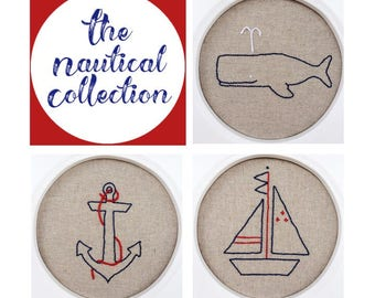 Nautical Embroidery Patterns - set of 3 - Anchor embroidery pattern -Whale embroidery pattern - Sailboat embroidery pattern