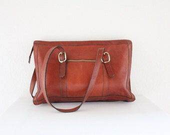 Vintage 1970's Oversized Leather Handbag