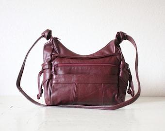 oxblood leather / vintage handbag