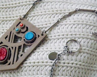 OOAK 3d Printed Pendant on Ready-to-wear Necklace Recycleable Leather Inlay Tooled Leather Beaded Unique Chain PLA