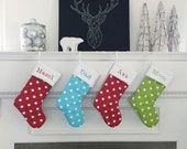 Christmas Stocking Polka Dot Chartreuse Lipstick Red Girly Blue no.361 no.440 no.607