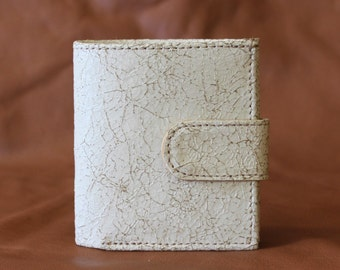 Bitty Cream Distressed Leather Wallet