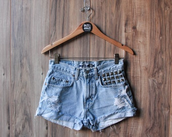 High waist vintage denim studded shorts 28 Waist | Ripped distressed denim shorts | Hipster festival shorts |  Vintage denim ripped denim |