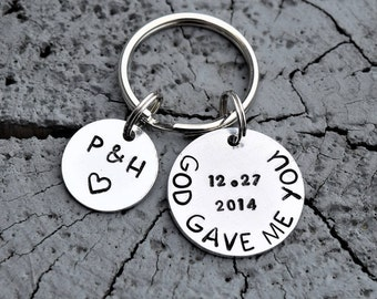 God gave me you personalized anniversary keychain