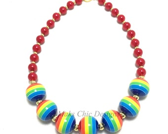 Toddler or Girls Rainbow Chunky Necklace - Girls Rainbow Necklace - St Patricks Day Necklace - Red Pearl Chunky Necklace - Rainbow Birthday