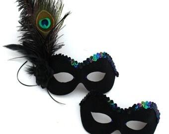 Couple's Matching Handmade Peacock Black Masquerade Eye Masks