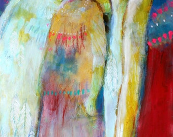 "Angel Artwork, Colorful Abstract Figure Painting, Spirit, Red Blue ""Guardian Angel"" 12x24"""