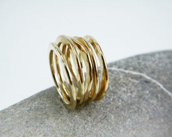 Hammered stacking rings Gold stacking band Stackable gold rings Rustic ring Gold stack ring