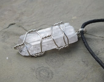 Pink Danburite Crystal Pendant, Terminated Point, 925 Sterling Silver, Wire Wrapped, Raw Stone Jewelry, Necklace 46mm PEACE ~ ASCENSION(db1)