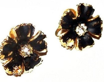 """Black Rhinestone Earrings Screw Back Style Enamel Paint Gold Metal 3/4"""" Vintage"""