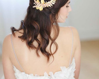 Ariana Fern and Orchid Bridal Hair Comb, Gold Wedding Hair Comb, Wedding Headpiece, Gold Hair Vine