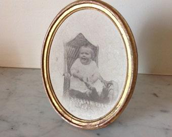 Vintage  baby  portrait 1900 vintage picture gold frame