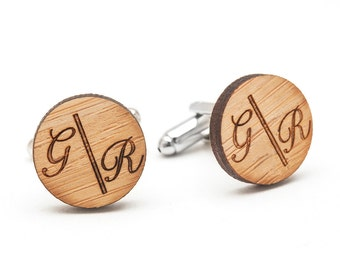 Wood Monogrammed Cufflinks - Personalized Wedding Cufflinks for Groom and Groomsmen - Unique Graduation Gifts for Brother - Gift for Boss