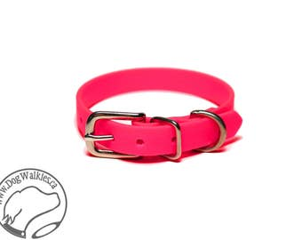 "Hot Neon Pink Little Dog Collar - 1/2"" (12mm) Thin Biothane Dog Collars - Waterproof Small Dog Collar"