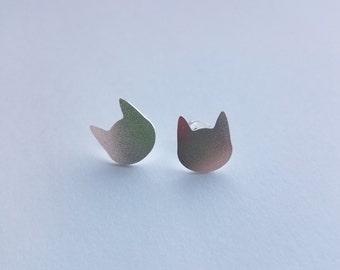 Silver Cat Studs, Silver Studs, Cat Posts, Cat Earrings, Silver Cat Posts, Stud Earrings, Cat Jewelry