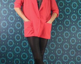 80's WOMENS BLAZER Hot Pink Neon // Oversized Boyfriend Blazer // Modern Casual // Size Medium