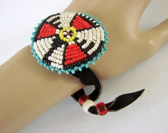 Vintage Leather Southwestern Turquoise Bead Wrap Bracelet Native American Artisan Jewelry Jewellery