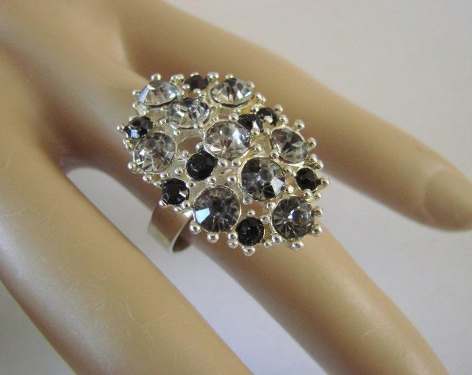 Vintage Costume Cocktail Rhinestone Black Glass Cluster Ring Adjustable Jewelry Jewellery