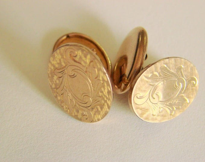 Edwardian S and C Smith & Crosby Cuff Links Delicately Engraved Gold Filled Cuff Buttons Antique Mens Fashion Accessories