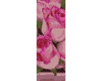 Pink Roses Loom Bead Pattern, Bracelet Pattern, Bookmark Pattern, Seed Beading Pattern Miyuki Delica Size 11 Beads - PDF Instant Download