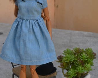 90s Babydoll Mini Dress in Faded Denim for Barbie Made to Move, Fashionista, Poppy Parker, and other similar-sized fashion dolls