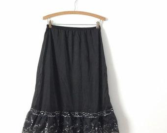 vintage 1950s petticoat slip, vintage black petticoat, small