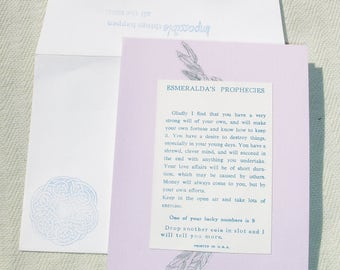Vintage Inspired Fortune Telling Greeting Card - Blank Inside - Handmade by Harmonee's Creations
