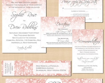 Pink Blush Glitter Invitation, RSVP, Inserts, Wrap Address Label, Belly Band Wedding Suite: Text-Editable Word®, Printable Instant Download