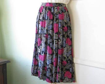Fuchsia & French Blue Floral Black Midi Skirt~'80s Vintage Medium/Size 8 Bohemian Orchid Print Skirt; Free Shipping/U.S.