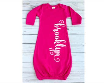 Personalized Baby Gown Hot Pink Infant Gown with Name Curly Name Size 0-3 Months Newborn Gown Name New Baby Girl Gift Infant Girl