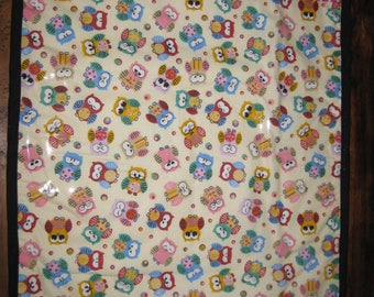 Cute pink and lemon owls baby change mat