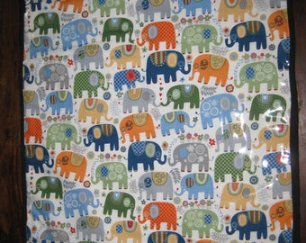 Cute Elephant's with blue polka dotted edge baby change mat